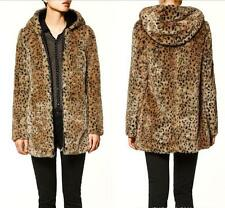 New Leopard Womens Coat Outwear Faux Fur Winter Jacket Thick Hooded Outwear