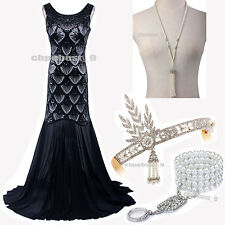 1920s Flapper Dress Gatsby Sequin Wedding Evening Party Gown Bridesmaid Costume
