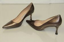 New Manolo Blahnik BB 90 newcio Brown Pearly Patent Leather Shoes Pumps Heels 37