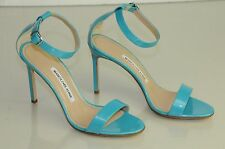 $745 New Manolo Blahnik CHAOS Pearly Turquoise patent leather Sandals Shoes 37