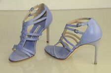 $925 NEW MANOLO BLAHNIK Purple Lilac Leather Strappy Sandals SHOES bb heels 37