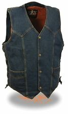Men's Blue Denim Side Lace Vest w/ Classic Snap Front Design - w/ Gun Pocket