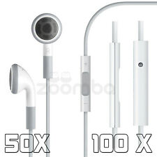 50X 100X Earphones Earbud Headset Headphone with Remote Mic for iPhone 6S/6/5S/5