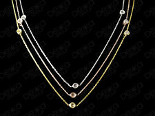 925 Sterling Silver 18K Gold Rose Cubic Zirconia Long Necklace CZ Crystals