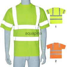 Hi Vis High Viz Visibility Short Sleeve Safety Work Crew Neck T Shirt XL