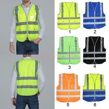 Hi-Vis Security Safety Vest Reflective Tape Strips Work Wearing 4 Pockets XL