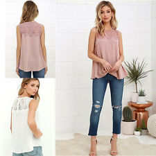 Hollow Womens Loose Casual Chiffon Sleeveless Lace Shirt Tops Blouse New Ladies