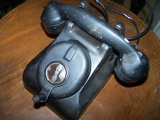 Vintage Black Leich Art Deco hotel /motel room Top Hand Crank Telephone! LOOK!