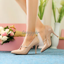 Women Mary Janes T-bar Stiletto Elegant Pumps Patent Leather Pointy Toe Shoes SZ
