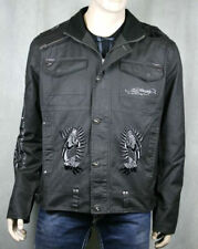 Ed Hardy Mens Panther Rose Gray Jacket embroidered NWT