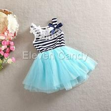 Girl Kids Toddler Tulle Top Tutu Dress Princess Party Lace Striped Summer Skirts