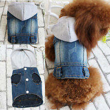 Pet Dog Denim Jacket Clothing Personalized Jeans Vest Coat for Teddy with Hat
