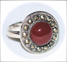 CARNELIAN Circle Half-Dome RING Marcasite 925 Sterling Silver (SIZE 6,7,8)