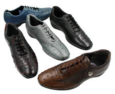 Men's Assorted Colors Wild West Genuine Leather Ostrich Print Shoes