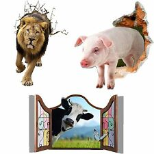 Cool Family Cute 3D Animal Pig Cow Lion Kids Gift Boy Bedroom Wall Sticker Decal