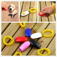 Dog Pet Click Clicker Training Obedience Agility Trainer Aid Wrist Strap IF