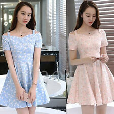 Women's Strap Sling Short Sleeve Party Dress Floral Waist Slim Width Lap Dress