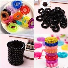 10pcs Girls Elastic Rubber Hairband Phone Wire Hair Tie Rope Band Ponytail