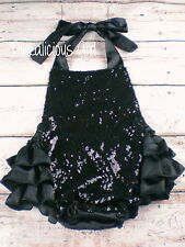 Baby Black Sequin Romper- Black Ruffle Romper- Sequin First Birthday Outfit