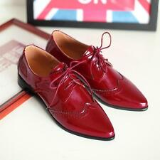 Formal Oxford New Womens Brogue Casual Pointy Toe Wedge Heel Lace Up Dress Shoes