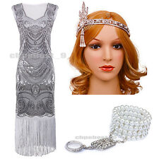 Ladies Vintage Style 1920s Flapper Dresses Sequins Beaded Cocktail Party Costume