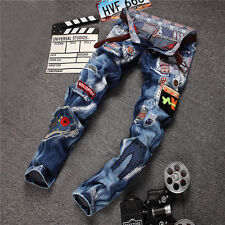 HOT MANY LOGO MENS FIT STRAIGHT SLIM RIPPED HIP HOP DENIM JEANS CASUAL PANTS
