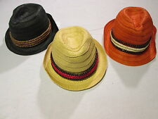 Jessica Simpson Wooden Banded Fedora Black Orange or Tan Womens Hats NEW