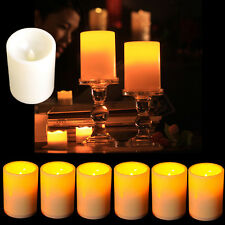 Lots Wedding Party Flickering Flameless Resin Pillar LED Candle Lights w/ Timer