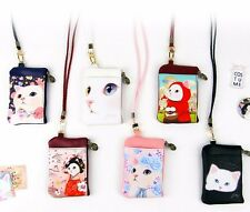 Jetoy Choo Choo Cat Cartoon Card Holder Coin Purse Wallet Neck Holder Strap