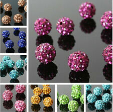 10Pcs Pave Clay Spacer Beads Round Crystal Rhinestones Czech Disco Ball