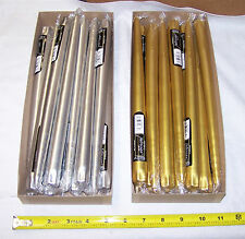 """1 Dozen 12"""" Patrician Hand Dipped Taper Candles Gold Or Silver Choice USA Made"""