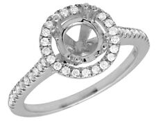14K White Gold Halo Semi Mount Solitaire Diamond Engagement Bridal Ring 1.52ct