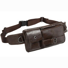 New Men PU Leather Belt Fanny Hip Bum Waist Bag Travel Sling Chest Back Day Pack