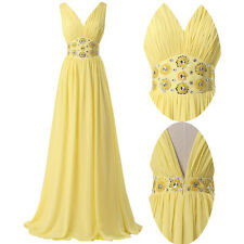 Lovely V Neck Yellow Long Evening Bridesmaids Dresses Beading Pageant Gowns