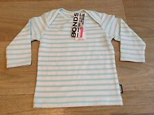 NWT Bonds Baby Boys Stretchies Aqua Stripe Long Sleeve Tee Size 000-2 RRP$18