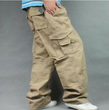 Mens Baggy Loose Cargo Carpenter Casual Overalls Long Pants Trounsers Plus Size