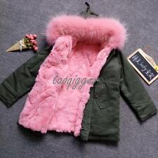 Girls Kids Real Fur Collar Hooded Thicken Vest Detachable Coat Jacket Outwear