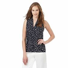 The Collection Womens Navy Spotted Print Sleeveless Top From Debenhams