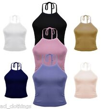 New Women's Ladies Casual Sleeveless Plain Halter Neck Crop Top Girl Sexy Vest