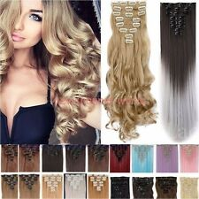Straight Full Head 18clips Clip in Hair Extensions Real thick human synthetic CY