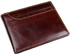 Men's Vintage Genuine Leather Brown Short Wallet Bifold Money Card Holder Purse