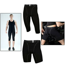 Men Compression Shorts Tights Leggings Running Gym Sport Base Layers Capri Pants