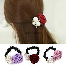 Women Satin Ribbon Rose Flower Pearls Hairband Ponytail Holder Hair Band