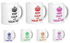 Keep Calm and Carry On, Personalised Mug with YOUR TEXT, Birthday gift present