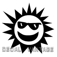 Smiling Sun Vinyl Sticker Decal Sunglasses - Choose Size & Color