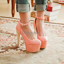 Hot Sexy Womens Ankle Strap Faux Suede Platform Pumps Super High Heels Round Toe