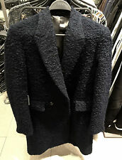 ZARA MAN WOOL NAVY BLUE LOOP-KNIT COAT S,M,L REF. 5701/561