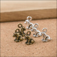 40PCS Vintage Bronze/Silver Dog charms pendants DIY Jewelry Findings 10x8mm Hot