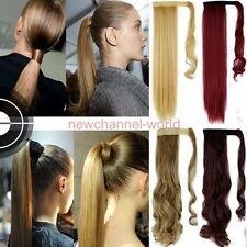 US Real Thick Clip In human Hair Extensions Wrap Around Ponytail Piece Synthetic