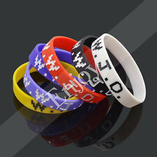 WWJD Silicone Rubber Wristband Bangle What Would Jesus Do Bracelet Multi-colour